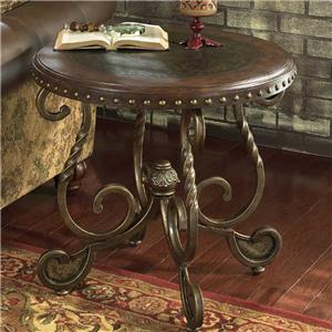 Round End Table With Wooden Top And Metal Legs