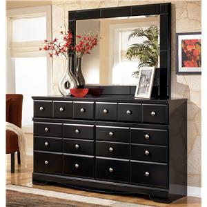 Contemporary 6 Drawer Dresser and Landscape Dresser Mirror Set