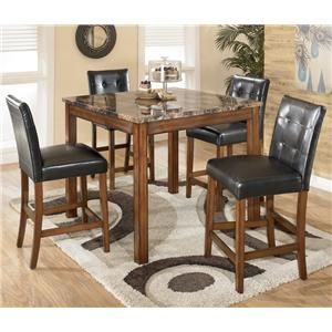 5 Piece Square Counter Height Table Set with Bar Stools