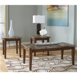 3-in-1 Pack of Occasional Tables with Faux Marble Tops