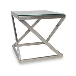 Brushed Metal Square End Table with Clear Tempered Glass Top