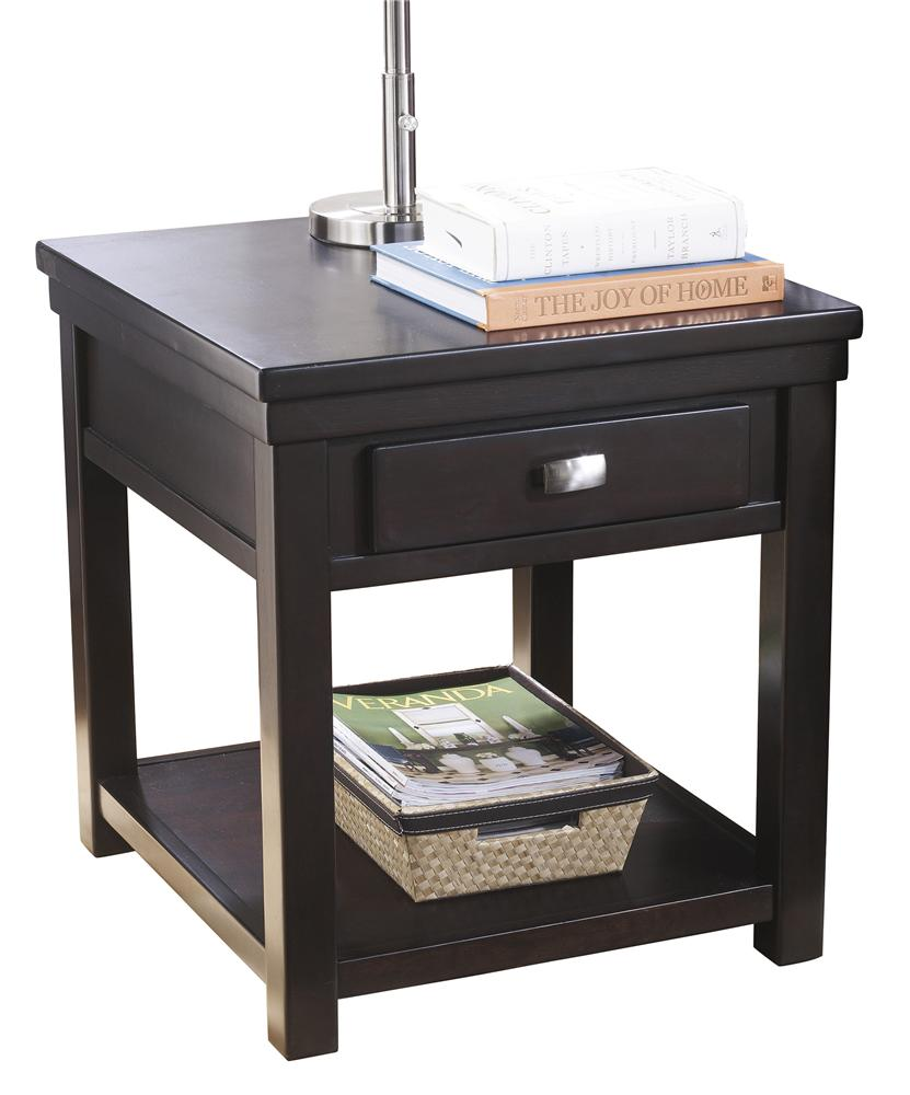 Rectangular End Table with 1 Drawer & 1 Shelf