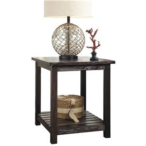 Rectangular End Table with Colorful Plank Shelf