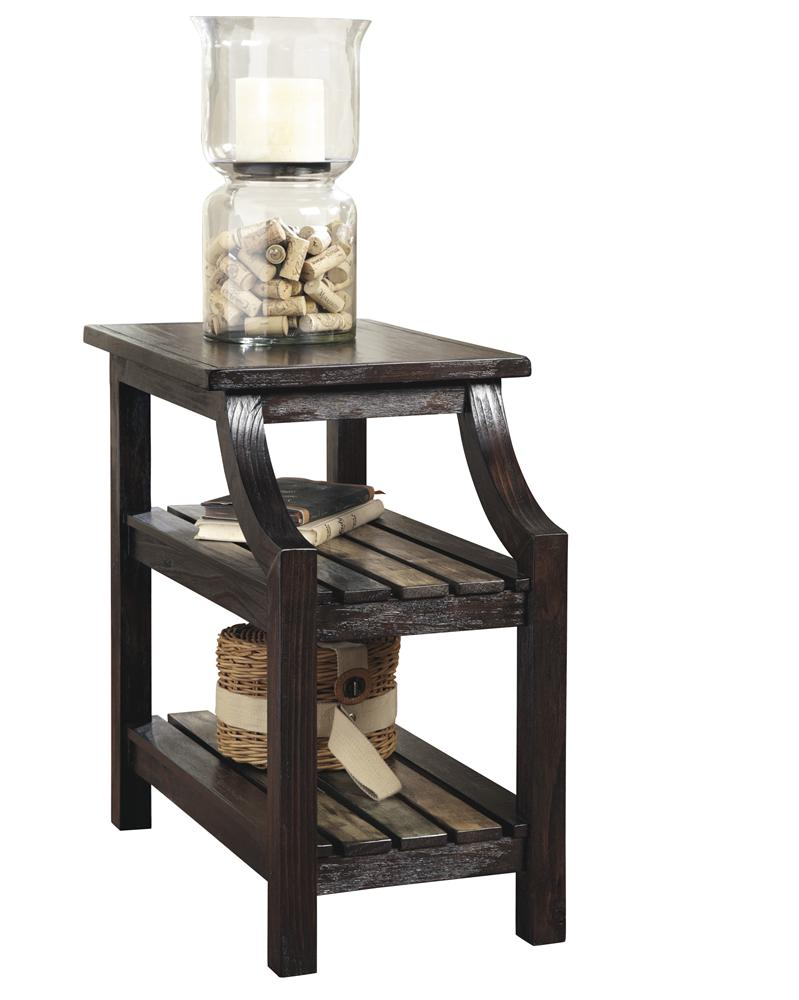 Chairside End Table with Colorful Plank Shelves