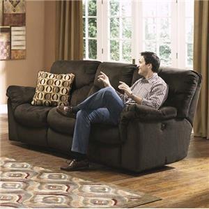 Brown Corded Casual Dual Reclining Sofa