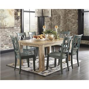5-Piece Table Set with Antique Blue Chrs