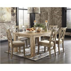 5-Piece Table Set with Antique White Chr