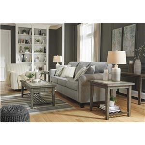Gray Sofa and Swivel Glider Accent Chair Set