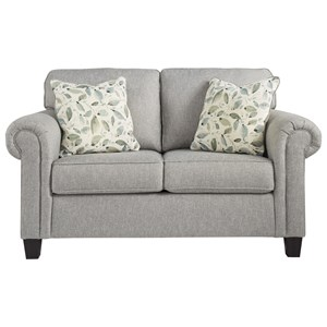 Transitional Loveseat with Rolled Arm
