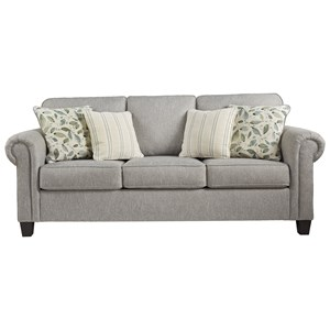 Transitional Queen Sofa Sleeper with Rolled Arms