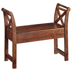 Acacia Solid Wood Accent Bench with Storage