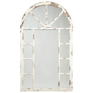Divakar Antique White Accent Mirror in Arched Window Design