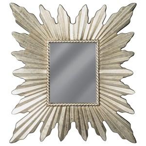 Antonia Antique Silver Finish Starburst Accent Mirror