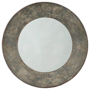 Carine Distressed Gray Round Metal Accent Mirror