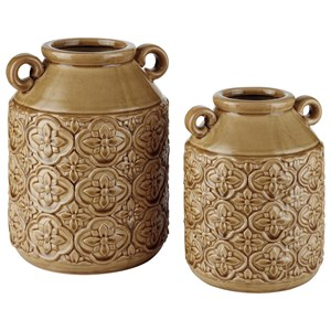 Edaline Ochre Glazed Ceramic Vase Set