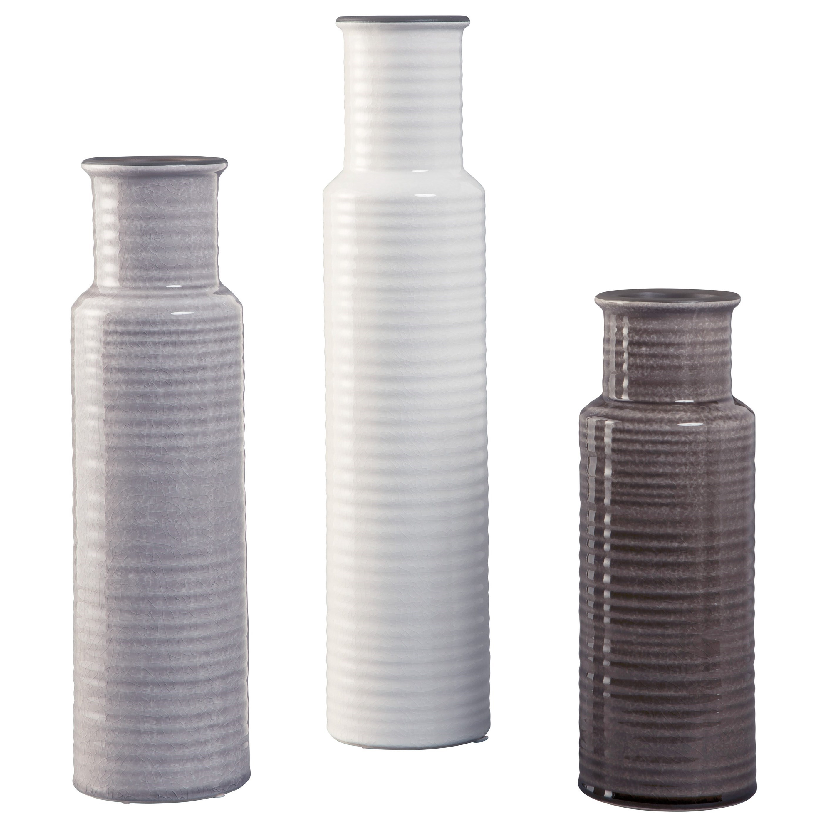 Accents Deus Gray/White/Brown Vase Set by Signature Design by Ashley at Coconis Furniture & Mattress 1st