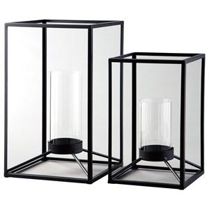 Dimtrois Black Indoor/Outdoor Lantern Set