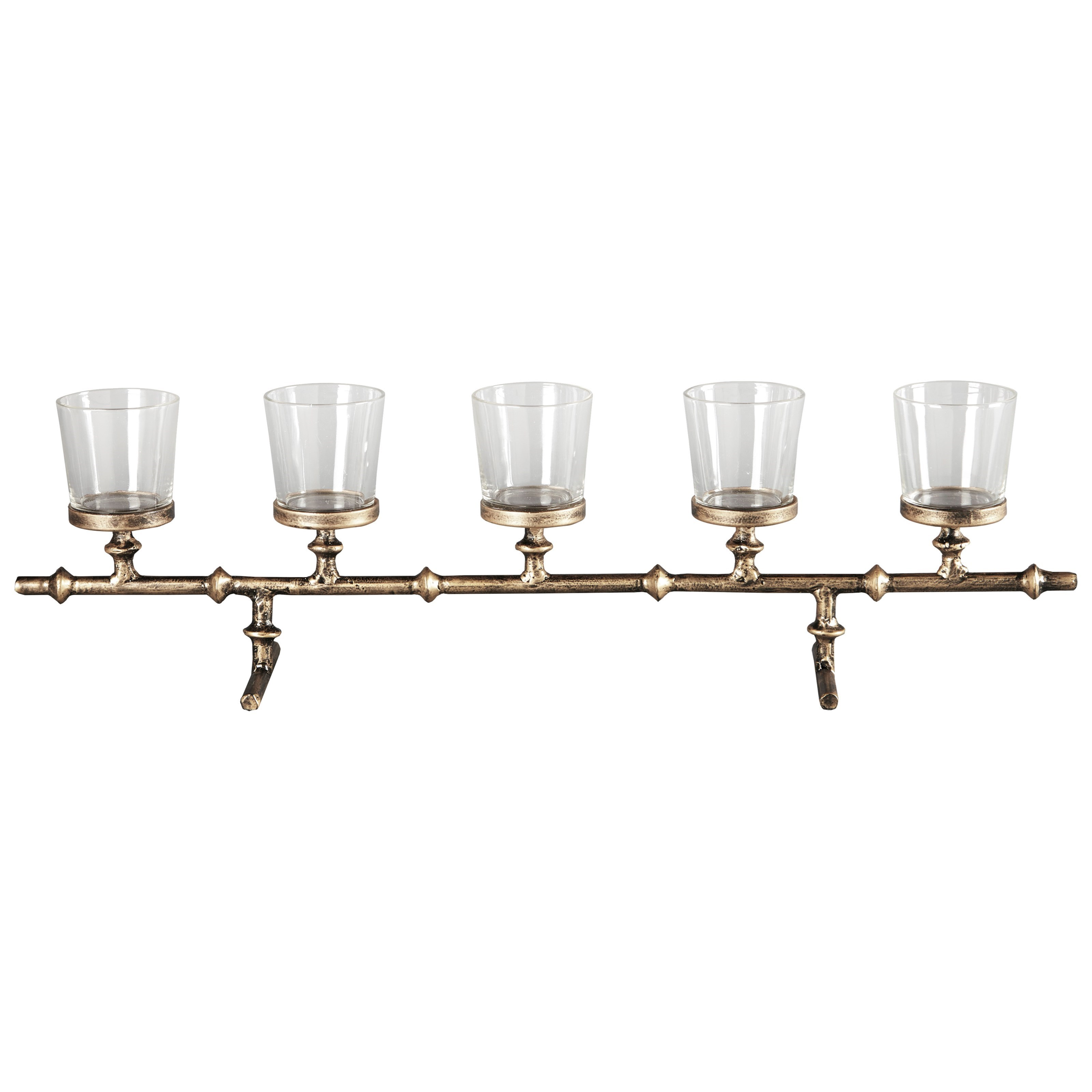 Accents Obasi Antique Gold Finish Candle Holder by Ashley Furniture Signature Design at Del Sol Furniture