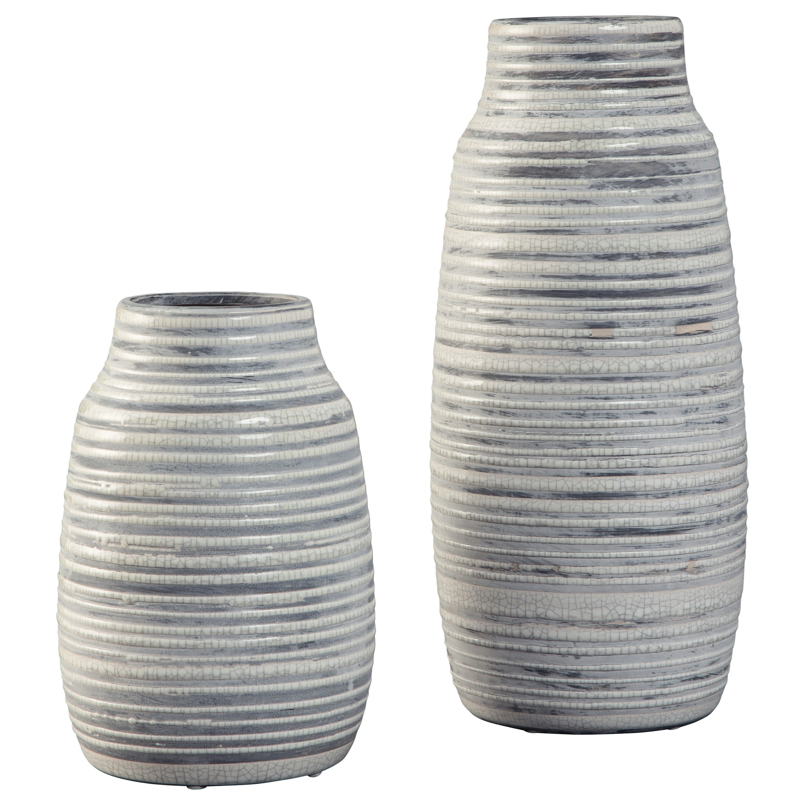 Accents Donaver Gray/White Vase Set by Signature Design by Ashley at Northeast Factory Direct