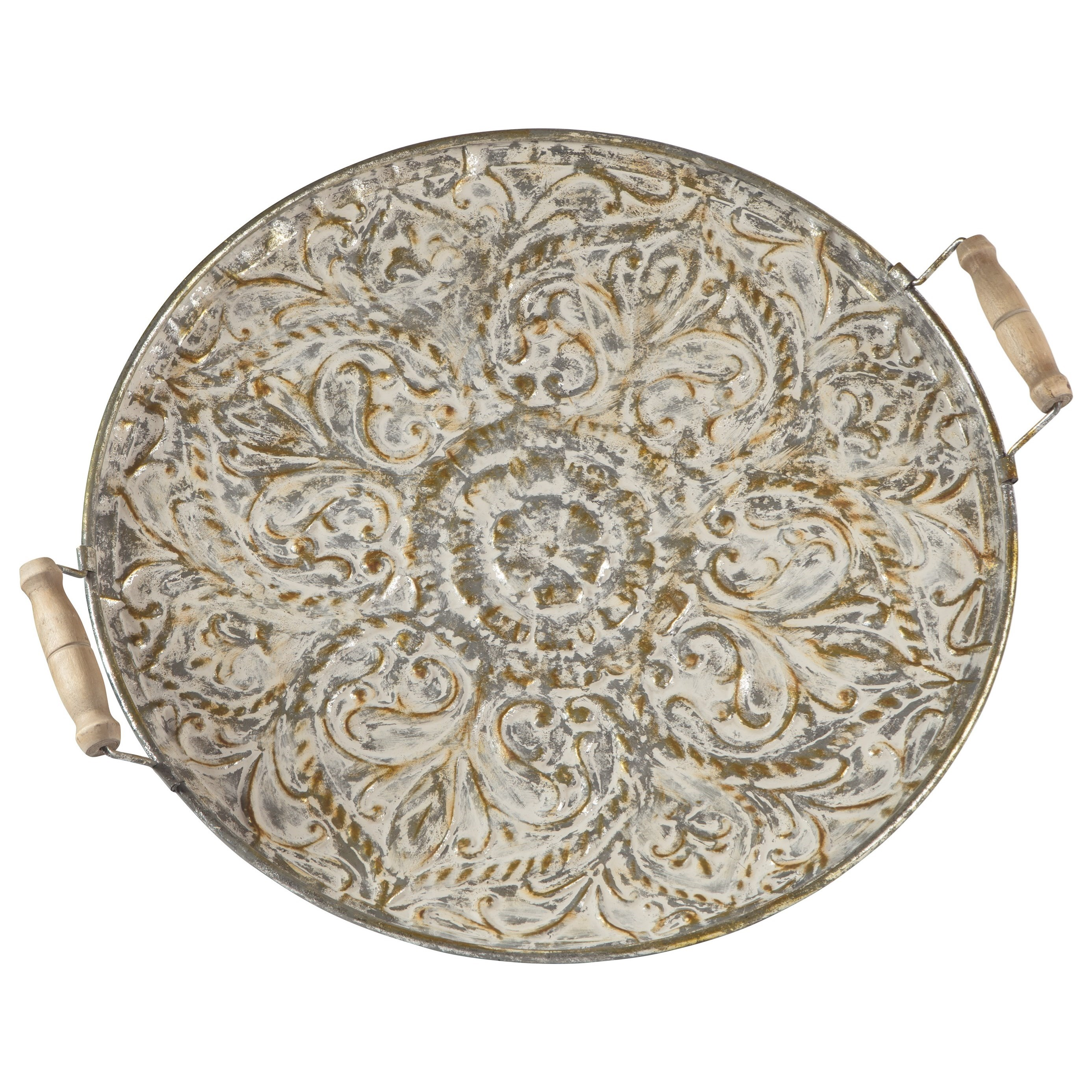 Accents Didina Cream/Gold Finish Tray by Ashley (Signature Design) at Johnny Janosik