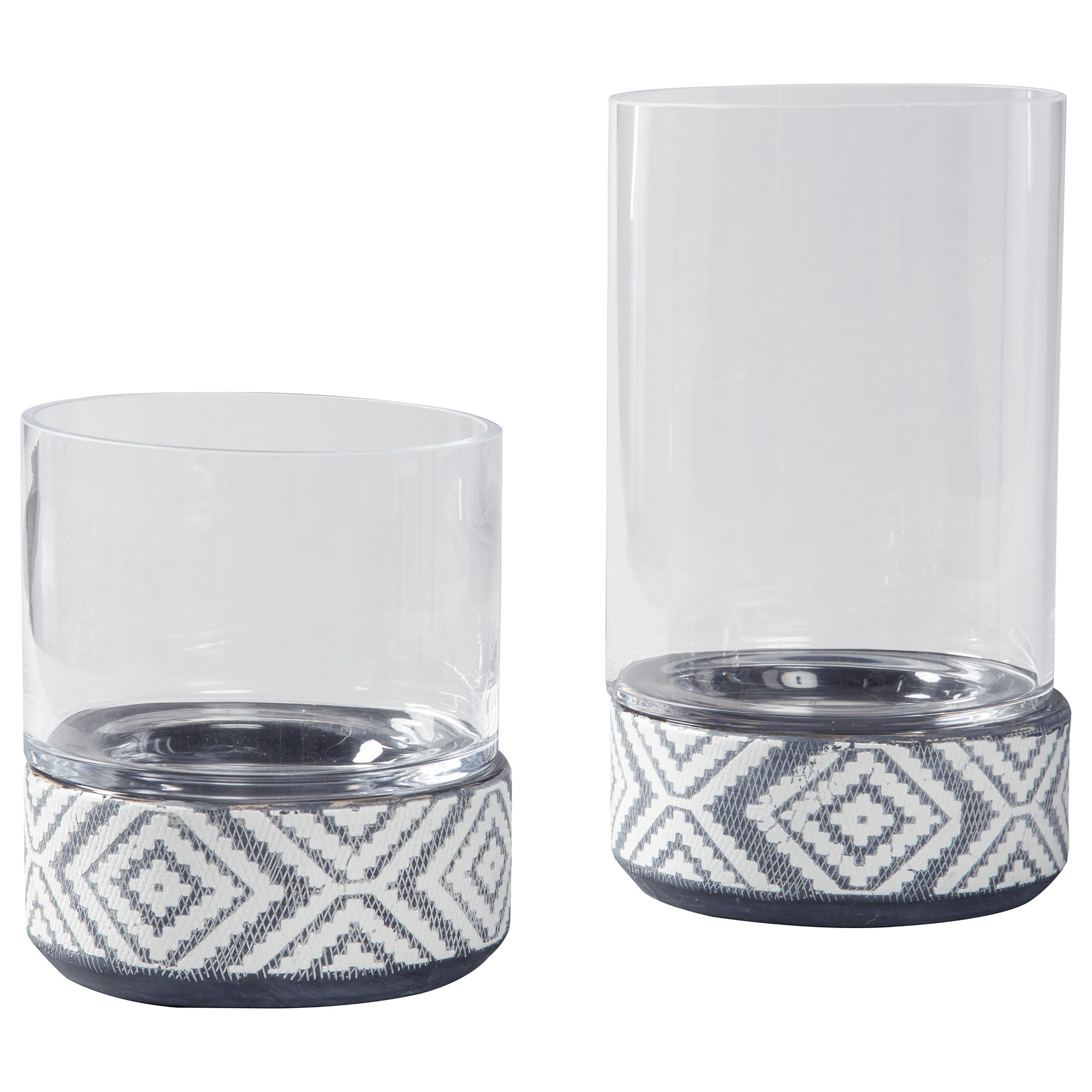 Accents Dornitilla Black/White Candle Holder Set by Signature Design by Ashley at Coconis Furniture & Mattress 1st