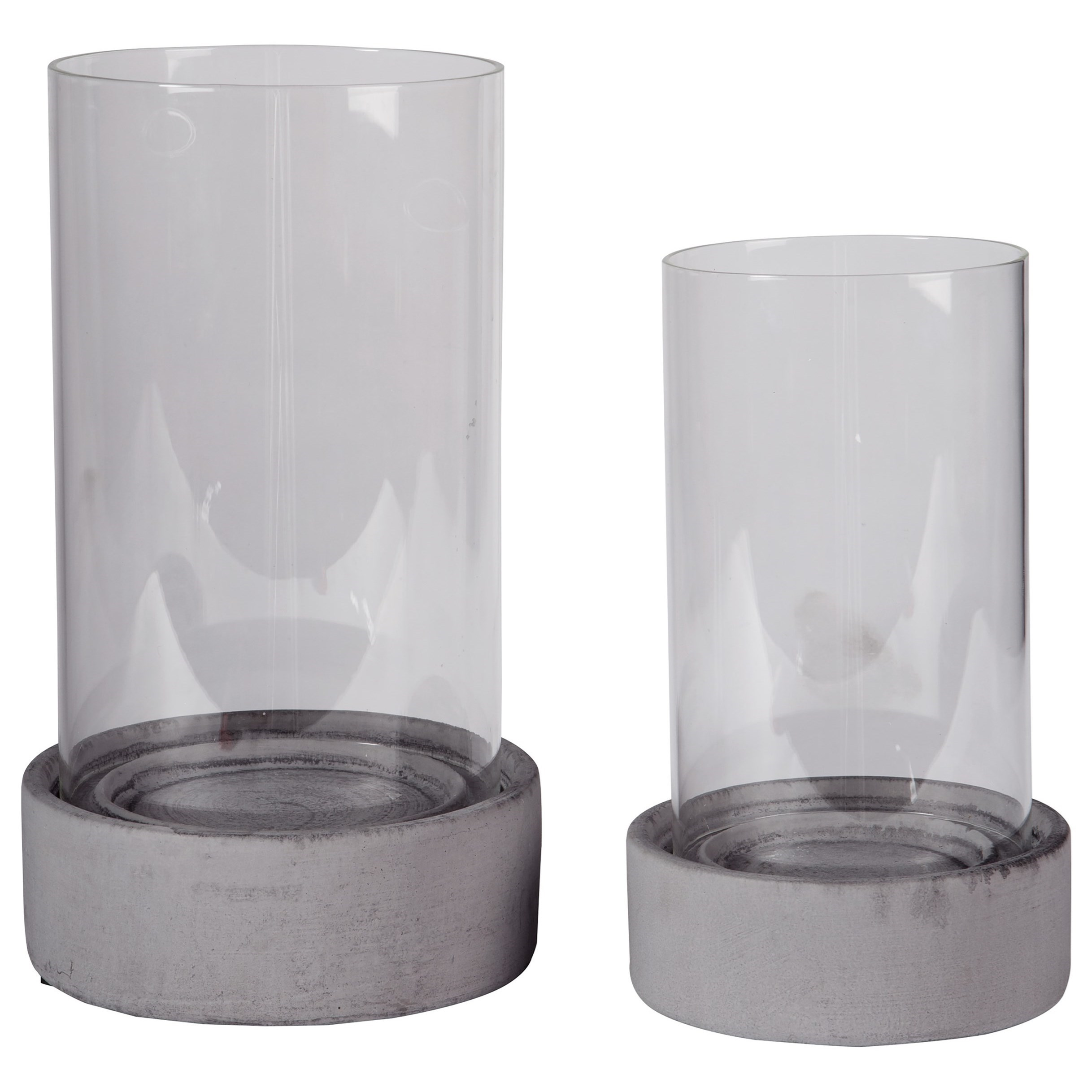 Accents Dieter Gray Candle Holder Set by Ashley Furniture Signature Design at Del Sol Furniture