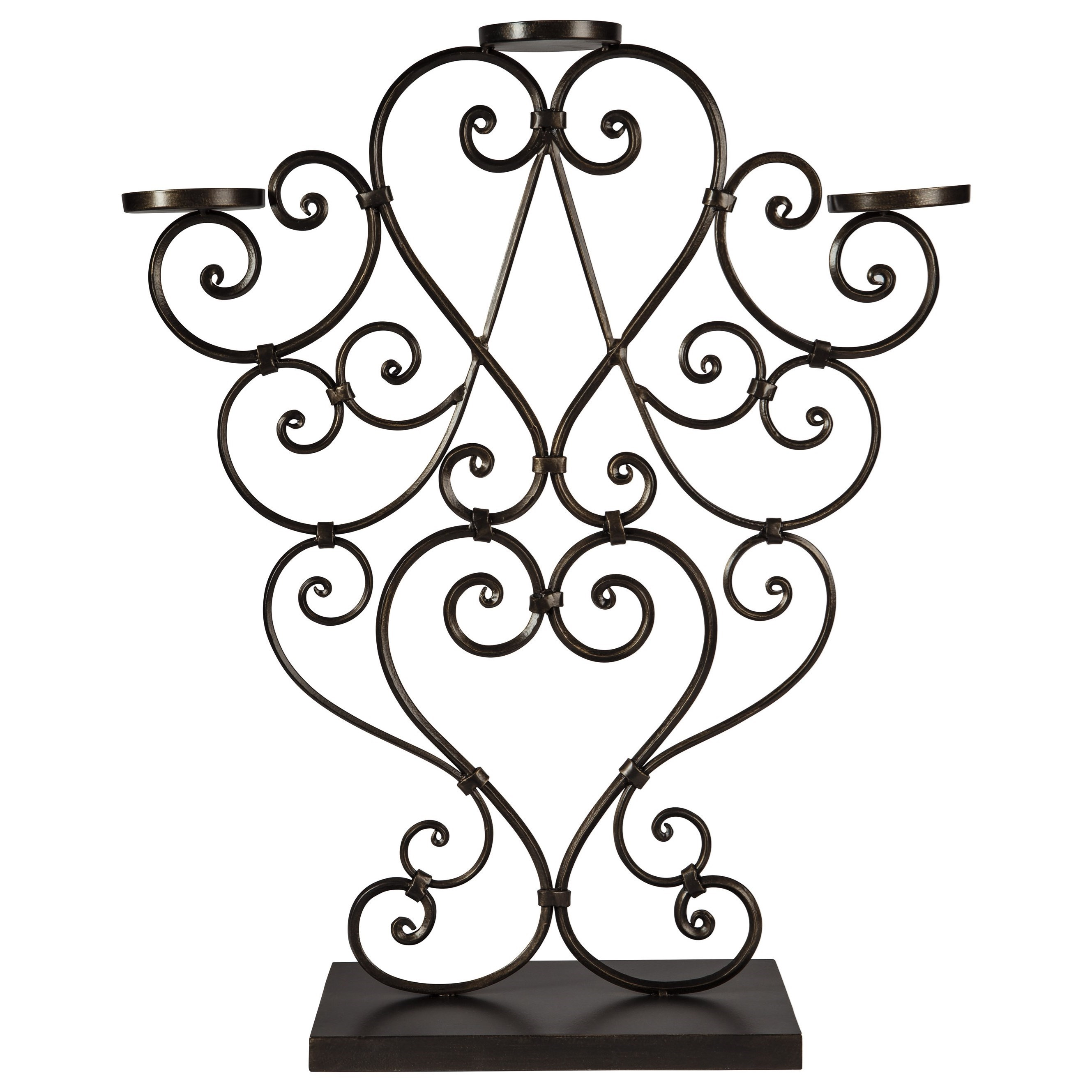 Accents Didier Antique Gold Finish Candle Holder by Ashley Furniture Signature Design at Del Sol Furniture