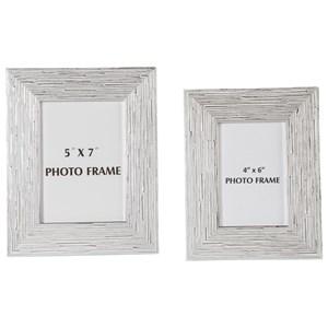 Signature Design by Ashley Accents Devaki White/Silver Finish Photo Frame Set