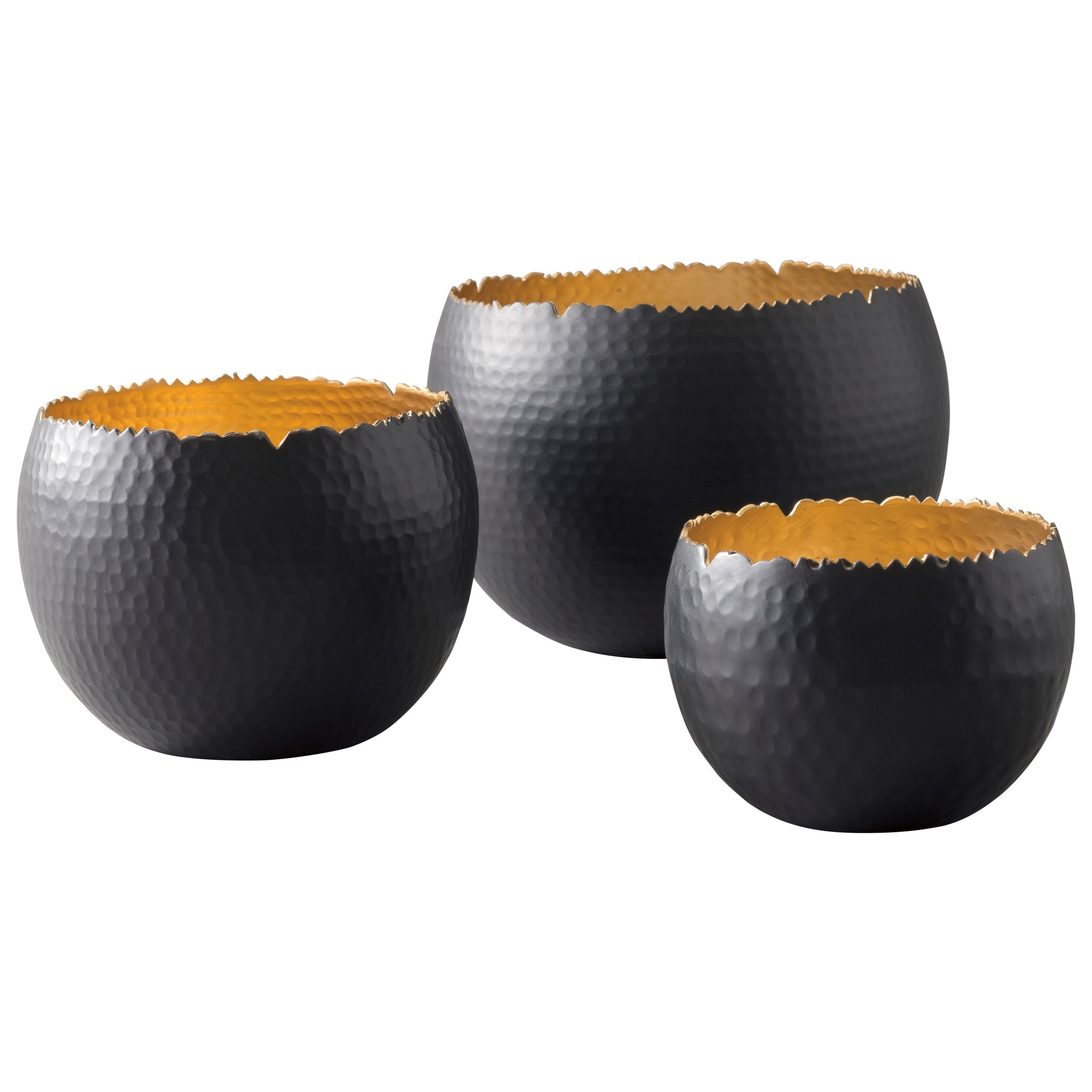 Claudine Black/Gold Finish Bowls, Set of 3