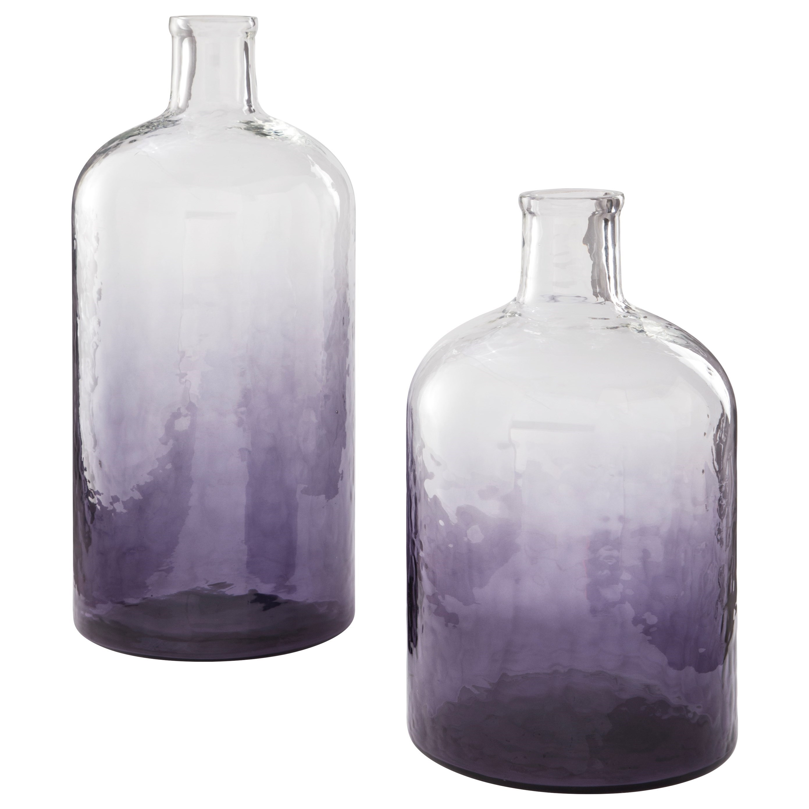 Accents Maleah Purple Glass Vase Set by Signature Design by Ashley at Beds N Stuff