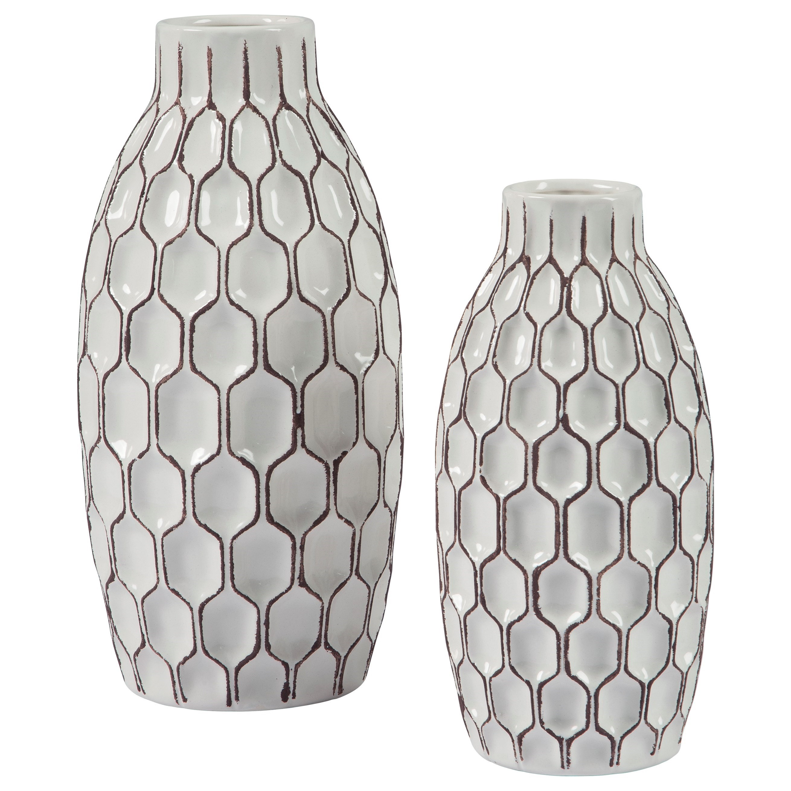 Accents 2-Piece Dionna White Vase Set by Signature Design by Ashley at Lapeer Furniture & Mattress Center