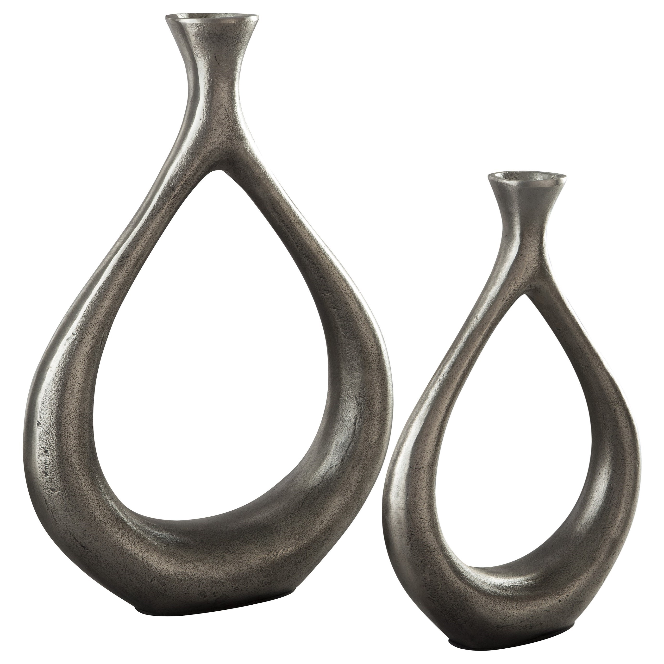 Accents Dimala Antique Silver Finish Vase Set by Signature Design at Fisher Home Furnishings