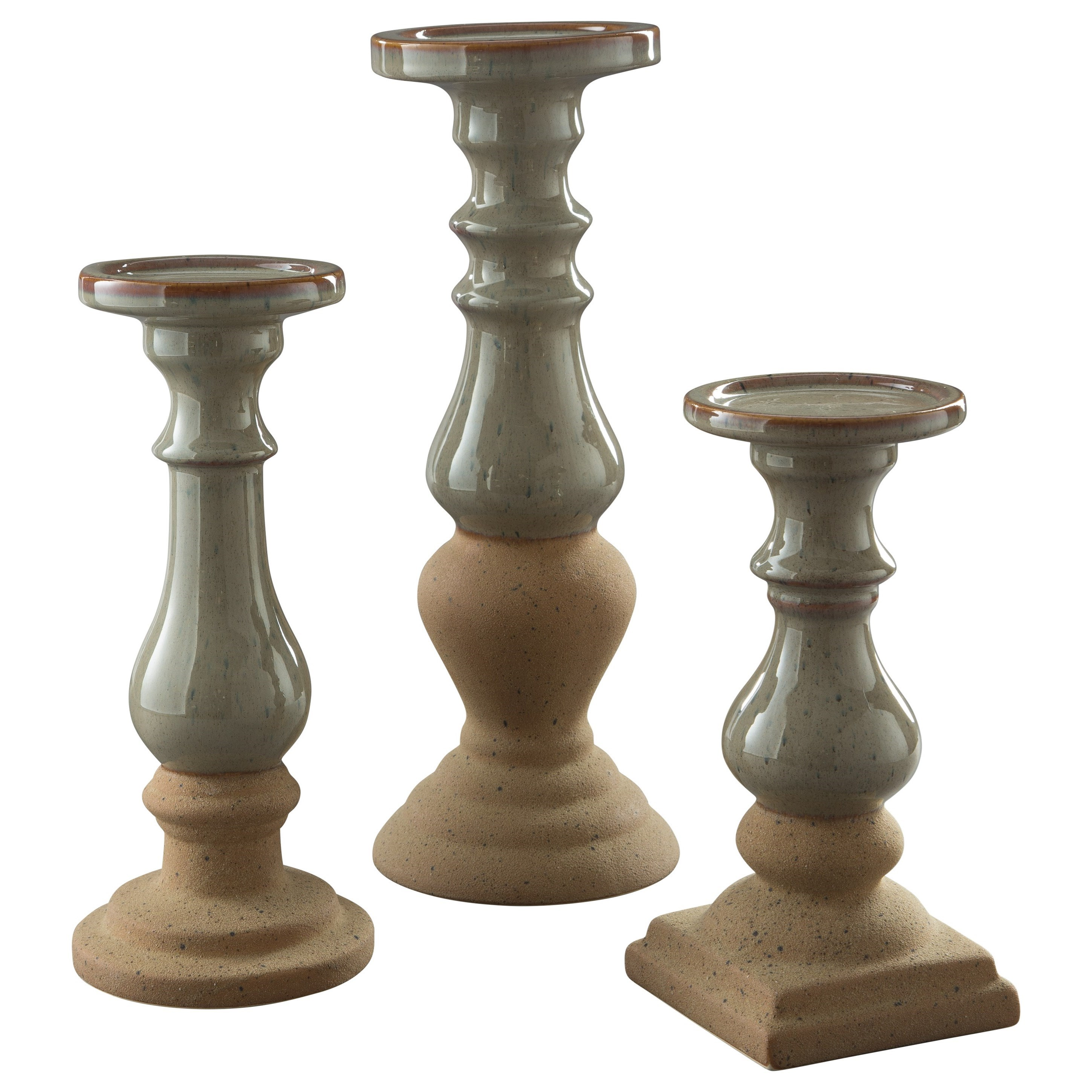 Accents Emele Taupe Candle Holder Set by Ashley (Signature Design) at Johnny Janosik