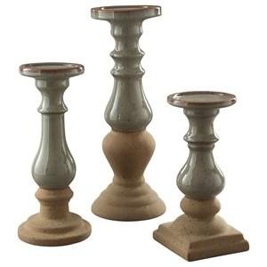 Emele Taupe Candle Holder Set