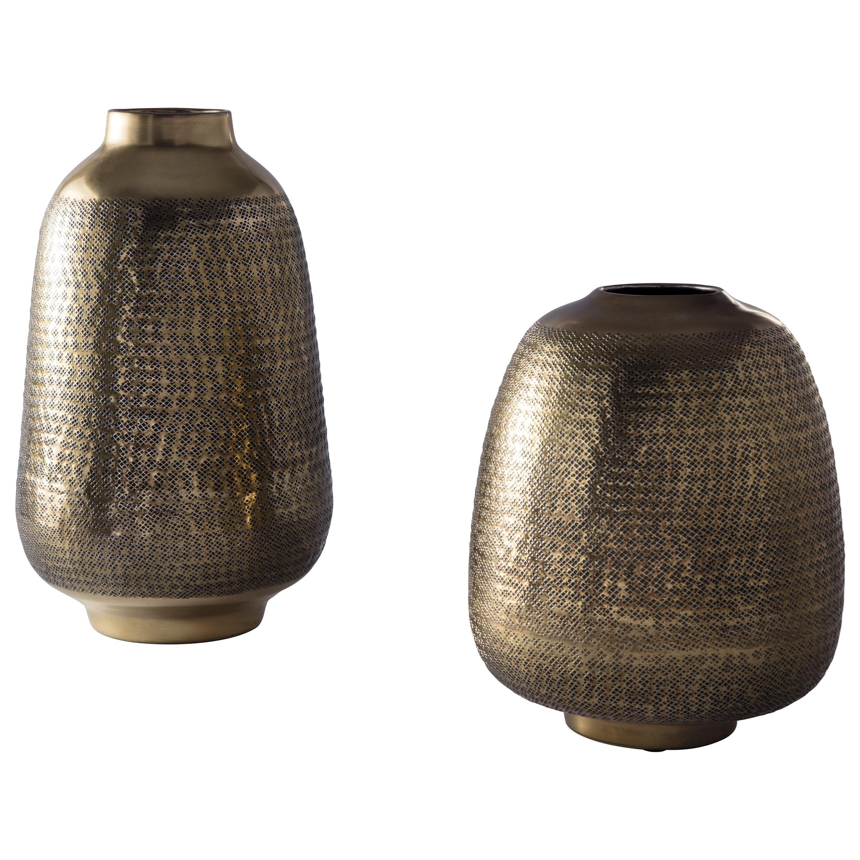 Accents Miette Antique Brass Finish Vase Set by Signature Design by Ashley at Coconis Furniture & Mattress 1st