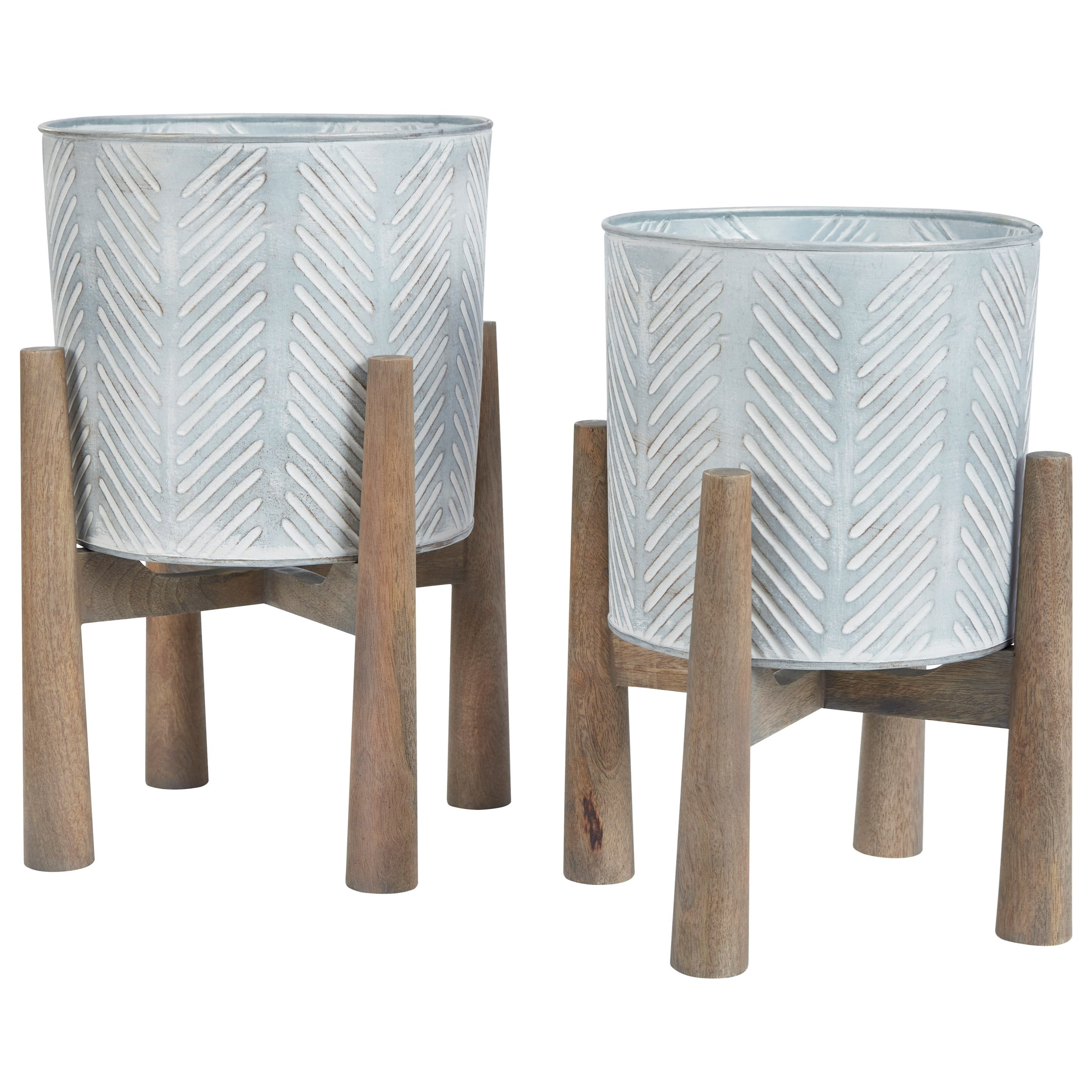 Accents Domele Antique Gray/Brown Planter Set by Benchcraft at Virginia Furniture Market