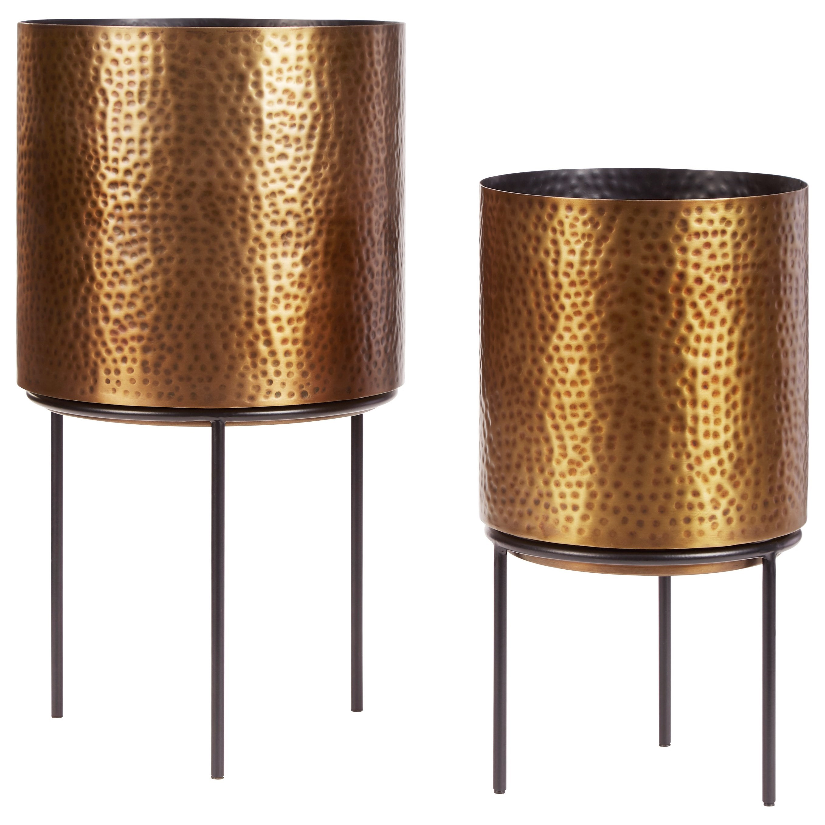 Accents Donisha Antique Brass Finish Planter Set by Signature Design by Ashley at Catalog Outlet