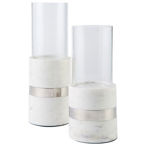 Gracelyn White/Silver Candle Holder Set