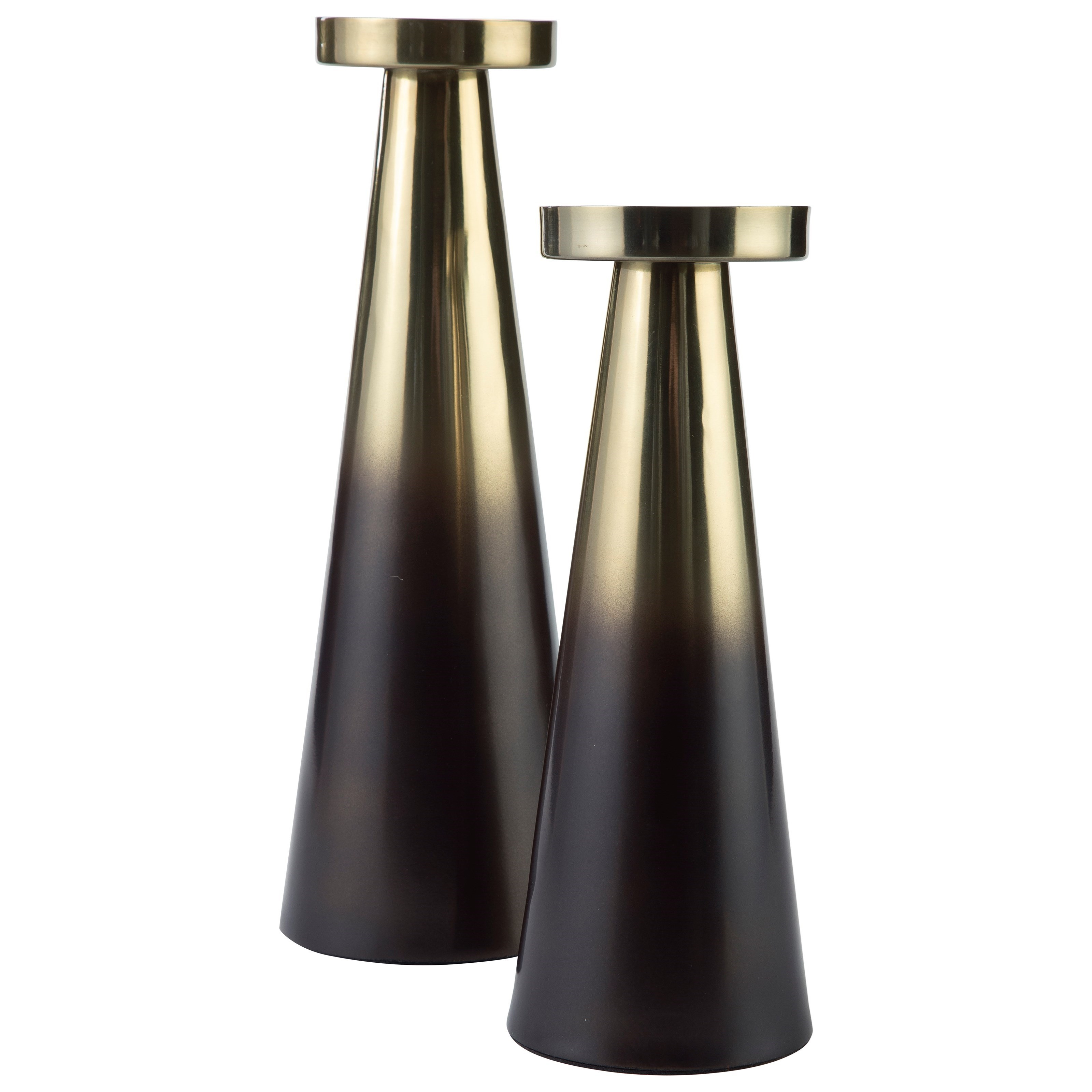 Accents Theseus Brown/Golden Candle Holder Set by Ashley Signature Design at O'Dunk & O'Bright Furniture