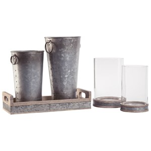 5-Piece Donae Natural/Gray Accessory Set