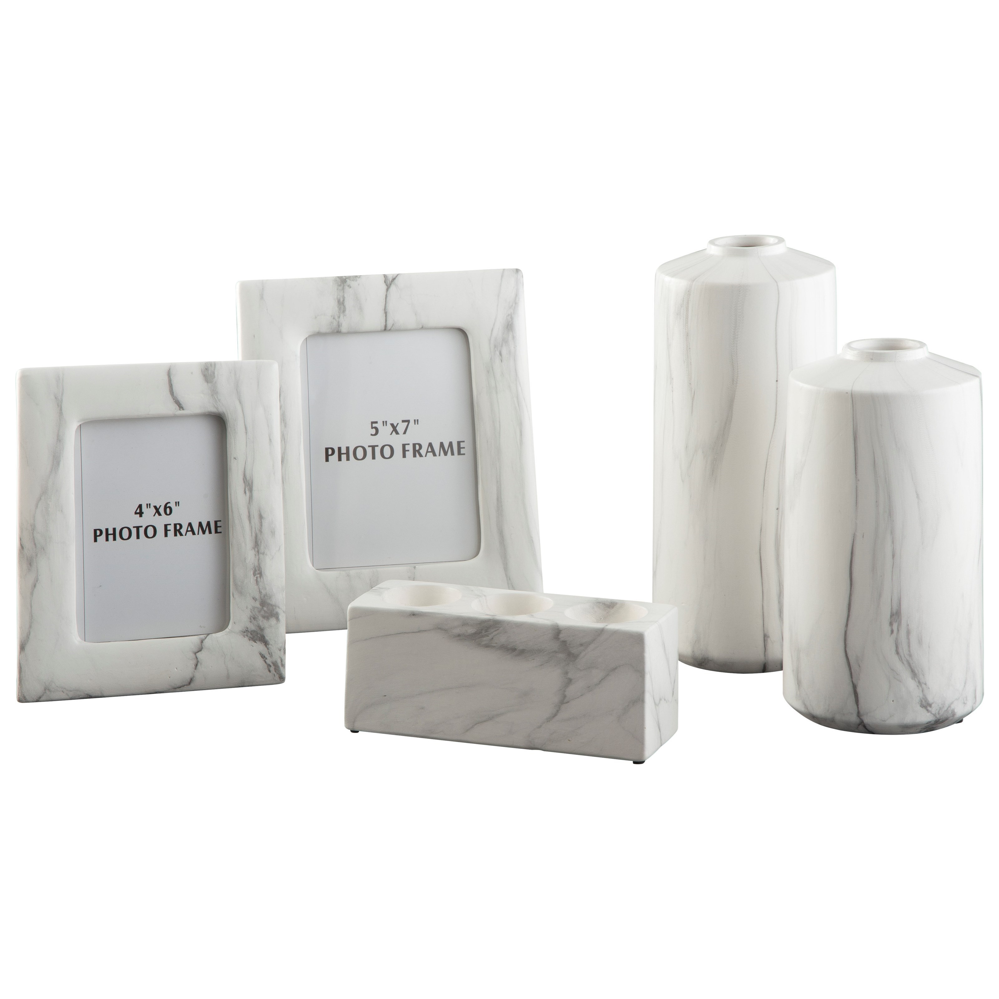 Accents 5-Piece Diogo White Accessory Set by Signature Design by Ashley at Lapeer Furniture & Mattress Center