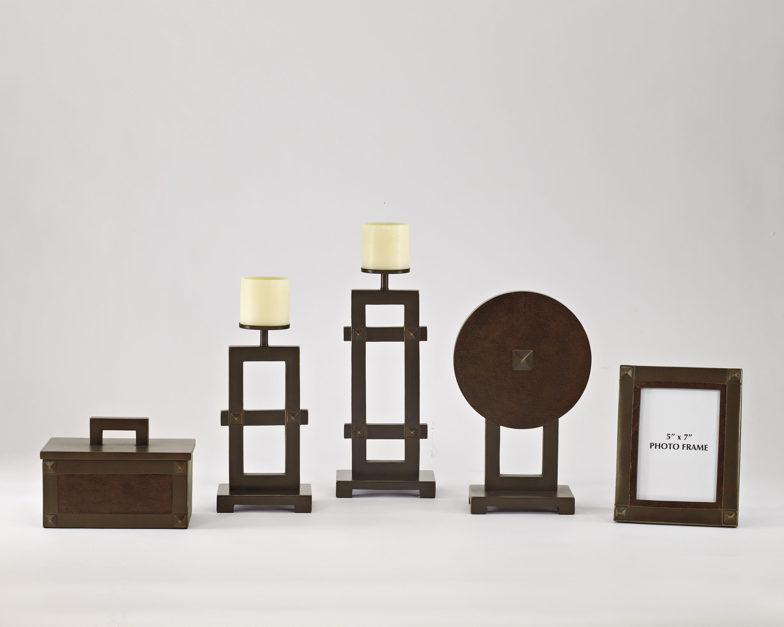 Accents Sesen - Bronze & Faux Leather Accessory Set by Signature Design at Fisher Home Furnishings
