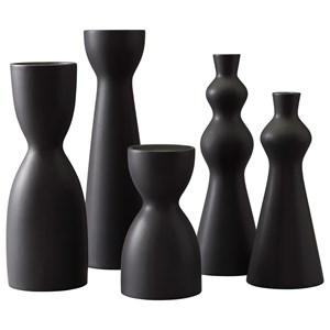 Destry Black Candle Holders (Set of 5)