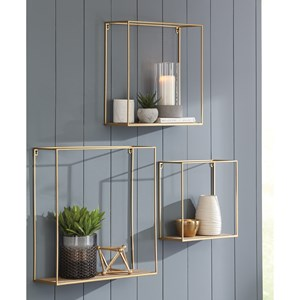 3-Piece Efharis Natural/Gold Wall Shelf Set
