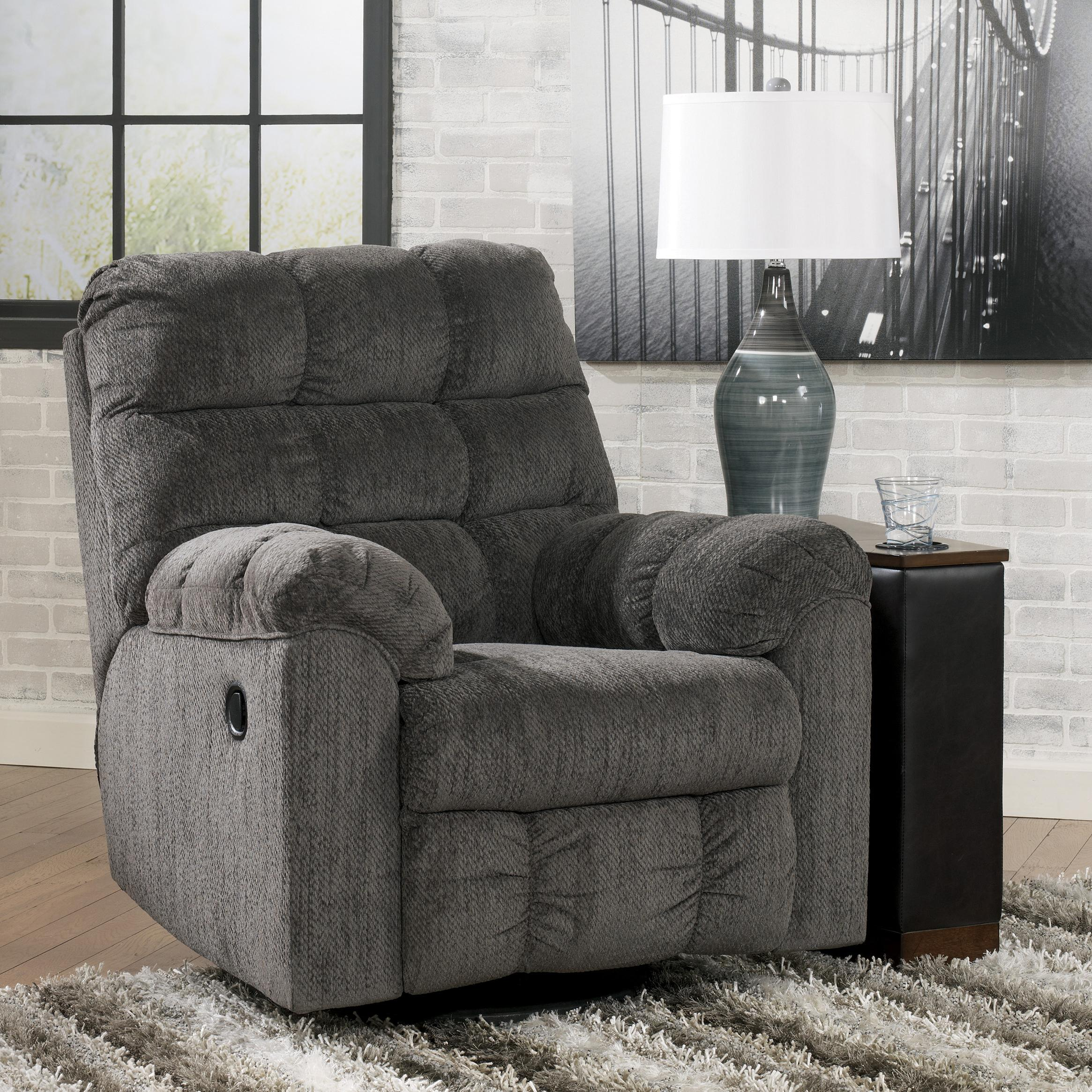 Acieona - Slate Swivel Rocker Recliner by Signature Design by Ashley at Northeast Factory Direct