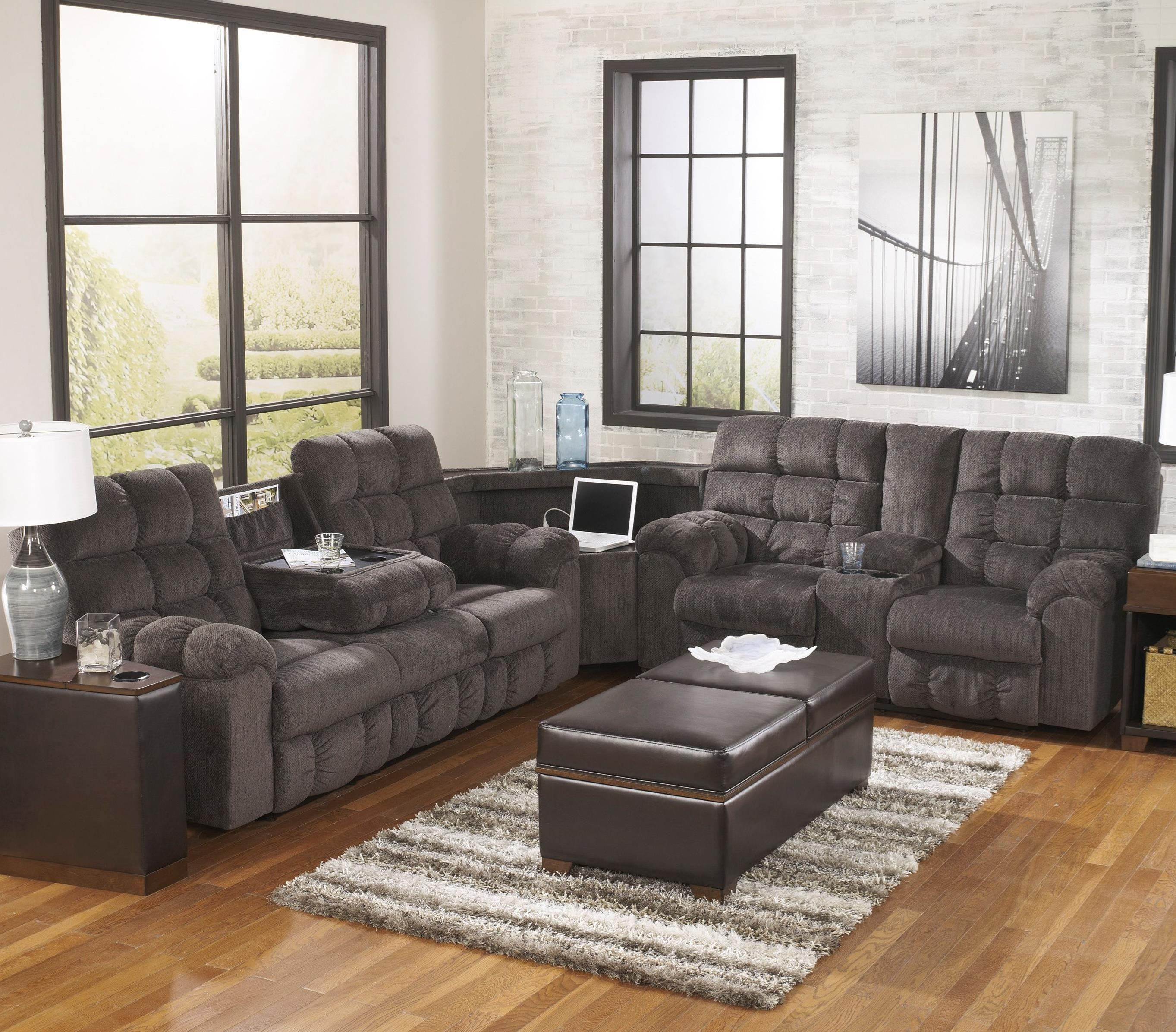Acieona - Slate Reclining Sectional with Right Side Loveseat by Signature Design by Ashley at Catalog Outlet