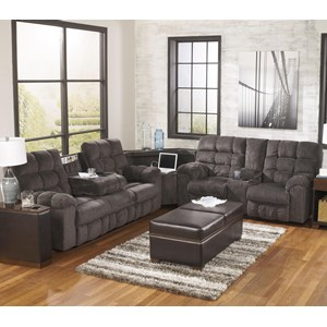 Reclining Sectional Sofa with Right Side Loveseat, Cup Holders and Charging Station