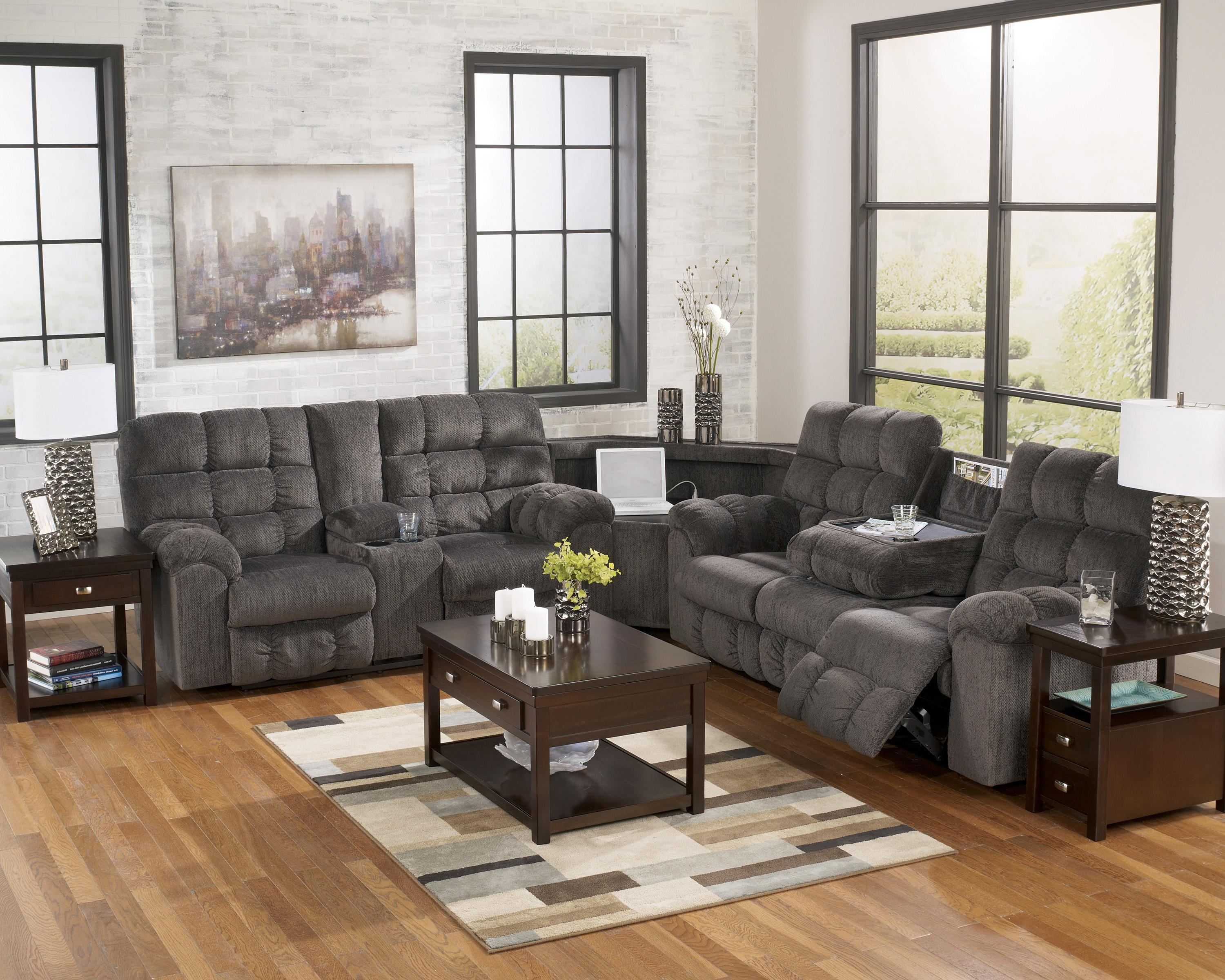 Acieona - Slate Reclining Sectional with Left Side Loveseat by Ashley Signature Design at Rooms and Rest