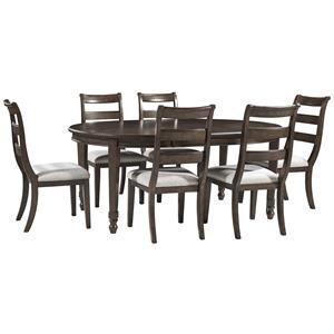 7 PC Oval EXT Table, 4 UPH Ladderback Side Chairs Set