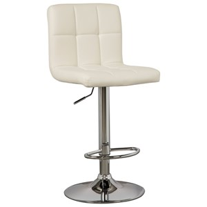 Tall Upholstered Swivel Barstool in Bone Faux Leather